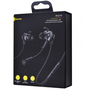 Проводные наушники Baseus H15 GAMO, микрофон, кнопка ответа, регулятор громкости, кабель 1.2м, чёрные