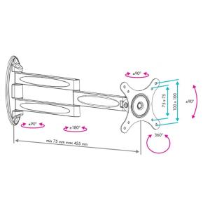Кронштейн для телевизора VLK TRENTO-15 silver наклонно-поворотный