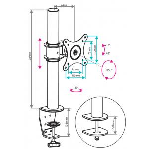 Настольный кронштейн для монитора VLK TRENTO-91 black