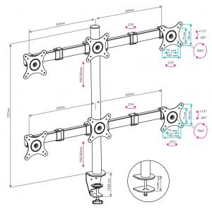 Настольный кронштейн для монитора VLK TRENTO-96 black