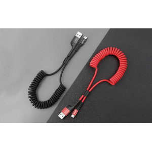 Кабель Baseus Fish eye Spring Data Cable USB - Lightning (CALSR) 1 метр, красный