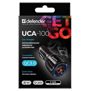 Автомобильное ЗУ Defender UCA-100 2xUSB, QC3.0