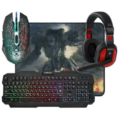 Игровой набор Defender Target MKP-350, мышь+клавиатура+коврик+гарнитура