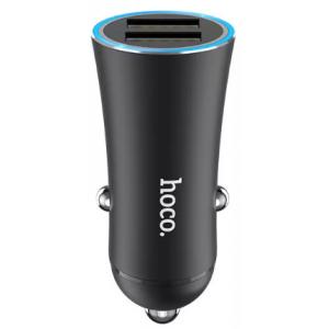 Блок питания автомобильный 2 USB HOCO Z30 Easy route черный