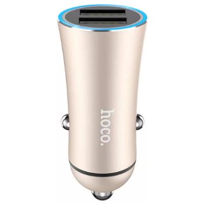 Блок питания автомобильный 2 USB HOCO Z30 Easy route золото