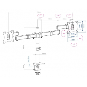Настольный кронштейн для 2-х мониторов Arm Media LCD-T04 black
