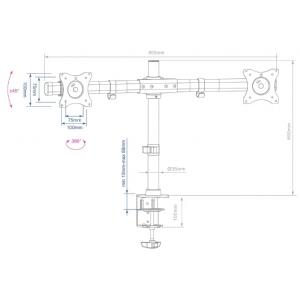 Настольный кронштейн для 2-х мониторов Arm Media LCD-T42 black