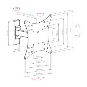 Кронштейн для телевизора Arm Media Mars-3 black наклонно-поворотный