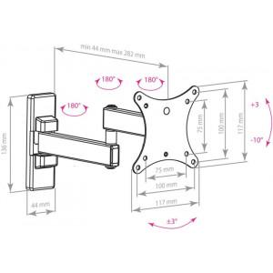 Кронштейн для телевизора Arm Media Mars-2 black наклонно-поворотный