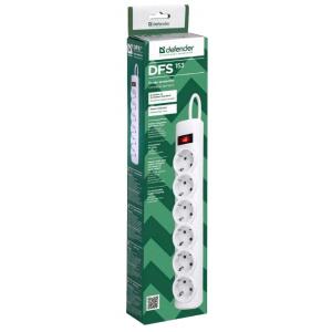 Сетевой фильтр Defender DFS153, 6 розеток, белый, 3 м.