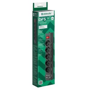Сетевой фильтр Defender DFS751, 5 розеток, черный, 1.8 м.