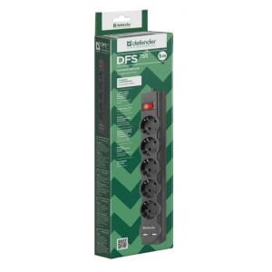Сетевой фильтр Defender DFS755, 5 розеток, черный, 5 м.