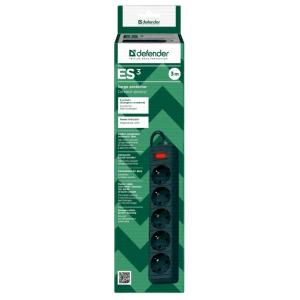 Сетевой фильтр Defender ES, 5 розеток, черный, 3 м.