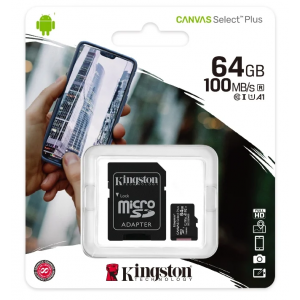 Карта памяти MicroSD 64GB Kingston Canvas Select Plus A1 (100 Mb/s) + SD адаптер