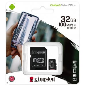 Карта памяти MicroSD 32GB Kingston Canvas Select Plus A1 (100 Mb/s) + SD адаптер