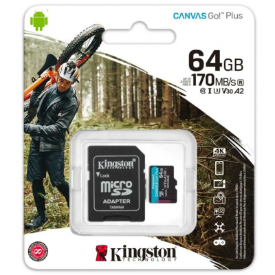Карта памяти MicroSD 64GB Kingston Canvas Go Plus UHS-I U3 V30 A2 (170/70 Mb/s) + SD адаптер