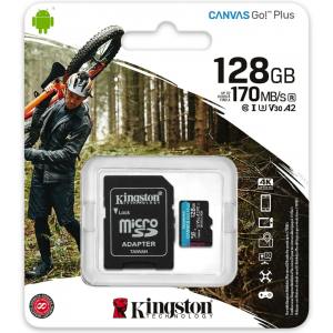 Карта памяти MicroSD 128GB Kingston Canvas Go Plus UHS-I U3 V30 A2 (170/70 Mb/s) + SD адаптер