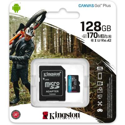 Карта памяти MicroSD 128GB Kingston Canvas Go Plus UHS-I U3 V30 A2 (170/70 Mb/s) + SD адаптер