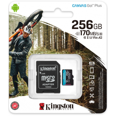 Карта памяти MicroSD 256GB Kingston Canvas Go Plus UHS-I U3 V30 A2 (170/70 Mb/s) + SD адаптер