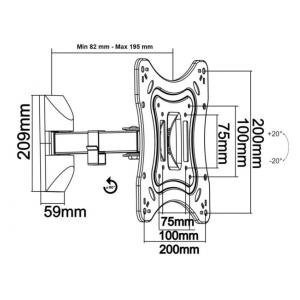 Кронштейн для телевизора Itech LCD22B black наклонно-поворотный