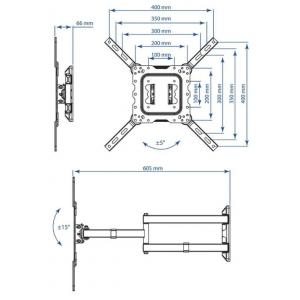 Кронштейн для телевизора Kromax Dix-18 black наклонно-поворотный